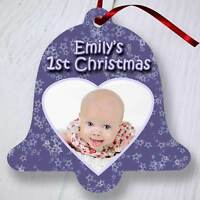 Personalised Christmas Tree Ornament Decoration - Bell - Purple Heart Photo