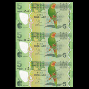 Fiji UNCUT SHEET 3 PCS, 5 Dollars, ND(2013), P-115, Polymer, Banknotes, UNC