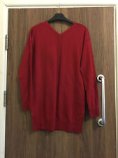 Next 100% Merino Wool V-Neck Red Sweater Jumper Size 8, 12 BNWT