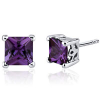 3 CT Princess Color Changing Alexandrite Sterling Silver Stud Earrings