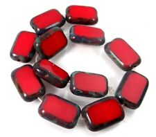 12x8mm Czech Glass Rectangle Beads Opaque Red - Picasso (12)