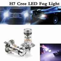 2PCS H7 LED Fog Tail Lamp 100W Car Head Light Bulb Super Bright COB 6000K White