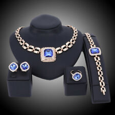 Fashion Gold Plated Crystal Sapphire Pendant Wedding Party Necklace Jewelry Sets