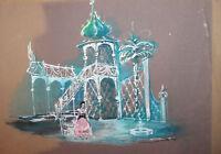 Vintage Theatre Scene Stage Design Gouache Painting
