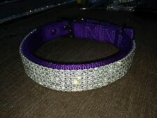 "Large Purple Swarovski Crystal Rhinestone Dog Collar 18-22"" Necks"