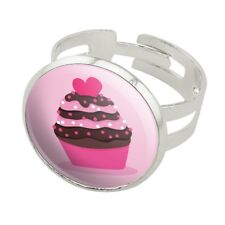 Strawberry Chocolate Cupcake Love Heart Silver Plated Adjustable Novelty Ring
