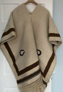 Vtg Hand Woven South American  Wool Poncho with Fringe Lucky Horseshoes One Size