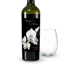 24 Classic Orchid Personalized Wedding Wine Bottle Labels