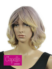 Celebrity Pastel Lilac Blonde Medium Mid Length Wavy Curly Layered Wig Hair