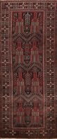 Antique Tribal Traditional Geometric Oriental Runner Rug Wool Hand-knotted 3x10