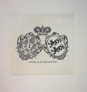 "Exlibris, Bookplate ""Wallerstein"" Jugendstil, Wappen/Adel (4)"