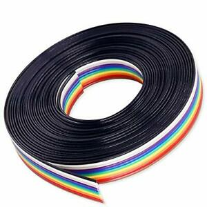Hilitchi IDC Rainbow Color Flat Ribbon Cable-10 wire 15ft