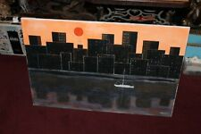 Original Outsider Art Painting City Skyscraper Boat Water Signed Marbach 2009