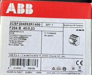 ABB F204B-40/0,03 FI-Schutzschalter Typ B 4P,40A,30mA,kurzzeitverzögert