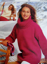 LADYS KNITTING PATTERN EASY KNIT COWL CREW NECK, 2 LENGTHS SWEATER CHUNKY 32-40""