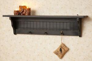 Black wood wall Shelf with Hooks- 36 inch