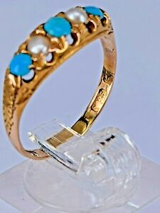 Pearls & turquoise 15 ct carat gold ring Uk size O