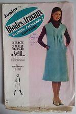4)Patron Mode & Travaux Robe Chasuble en toile de laine tailles 34-38-40