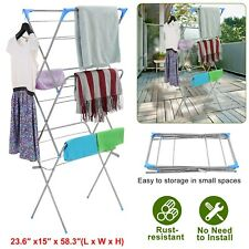 Large Folding Drying Rack Laundry Clothes Storage 3 Tier Metal Indoor Outdoor
