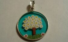 18mm Murano Millefiori Lampwork Glass Pendant 925 Italian Silver Tree of Life