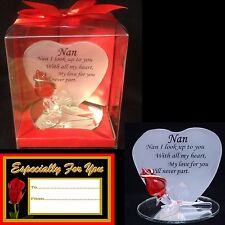 NAN RED ROSE GLASS HEART SHAPED VERSE PLAQUE CHRISTMAS GIFT KEEPSAKE BIRTHDAY