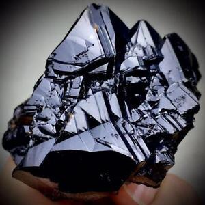 215g Complete Larger Particles Bright Black Cassiterite Crystal Mineral Specimen
