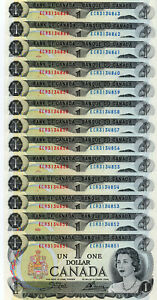 Bank of Canada 1973 $1 One Dollar Lot 50 Consecutive Notes AU/UNC ECR Prefix