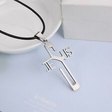 Jesus cross pendant necklace Stainless steel Leather cord necklace UK Sale