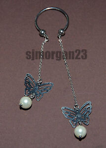 Stainless Steel Butterfly and Pearl Dangle  Body Nipple Piercing Screw Ball End