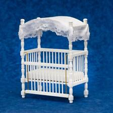 Dolls House White Wood Canopy Cot Crib Miniature 1:12 Nursery Baby Furniture