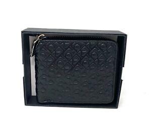 Calvin Klein Men's Black Zip Wallet Genuine Leather Embossed Logo 4711 0158 010