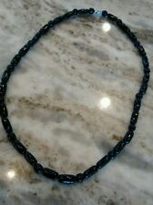 Pretty  vintage genuine black coral round elongate  beads necklace