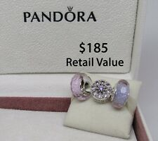 New w/Hinged Box Pandora Gift Set of 3 Charms Sparkling Medallion & 2 Shimmers