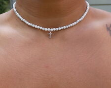 CROSS BEADED NECKLACE STERLING SILVER MINI CZ CROSS WITH ADJUSTABLE LENGTH