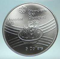 1976 CANADA Queen Elizabeth II Olympics Montreal Torch Silver $5 Coin i82312