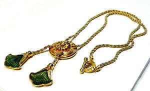 Bijou collier sautoir signé Leritz  lucite verte alliage doré idéal pour cadeau