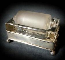 STUNNING, RARE HALLMARKED SILVER & GLASS POSTAGE STAMP WETTER ROLLER - 1919
