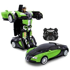 Kids RC Toy Car Transforming Robot Remote Control Vehicle Toy For Boy Green Used