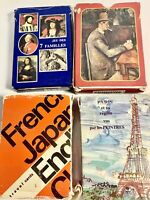 (4) Vintage French Educational Playing Cards Souvenir