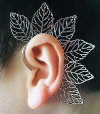 SILVER PLATED LEAF EAR CUFF - PIXIE, STEAMPUNK, FAKE EARRING, CLIP ON STUD, WRAP