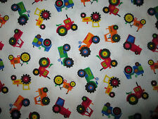 Tractors Farm Small Multi Colors White Cotton Fabric BTHY