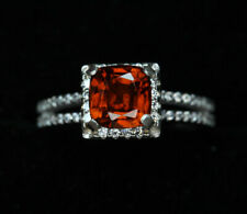 Natural 1.95 CT Hessonite Garnet w/ accent Zircons set in .925. Sterling Silver.