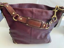Leather coach carly large plum hobo shoulder bag