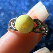 RARE POLISHED MILKY BUTTERMILK AMBER CELTIC RING SIZE 6.25 ~ 2g