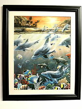 DOLPHIN FISH PICTURE AQUATIC SEA ANIMALS TROPICAL FISH MATTED FRAMED 16X20