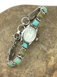 "STUNNING Vintage Turquoise Sterling Silver WOMENS Watch Tips 7"" 4916"