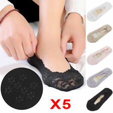 5 Pairs Womens Girls Skin Shoe Liners Footsies Invisible Thin Lace Socks Sheer