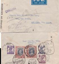 India 1945 Air Mail cover from Bombay Censored 1r x 2 with11 1/2as to New York