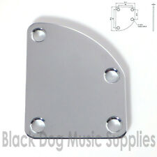Asymmetric left handed curved Guitar Neck Joint Plate in Chrome inc screws