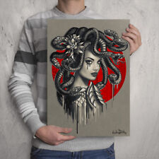 MEDUSA Snake Head Girl - Signed Print - Artwork - Painting - Tattoo Artist Gift
